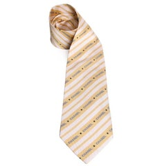 CHANEL Stripes Tie in Yellow Silk