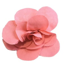 CHANEL Camellia Brooch in Pink Silk