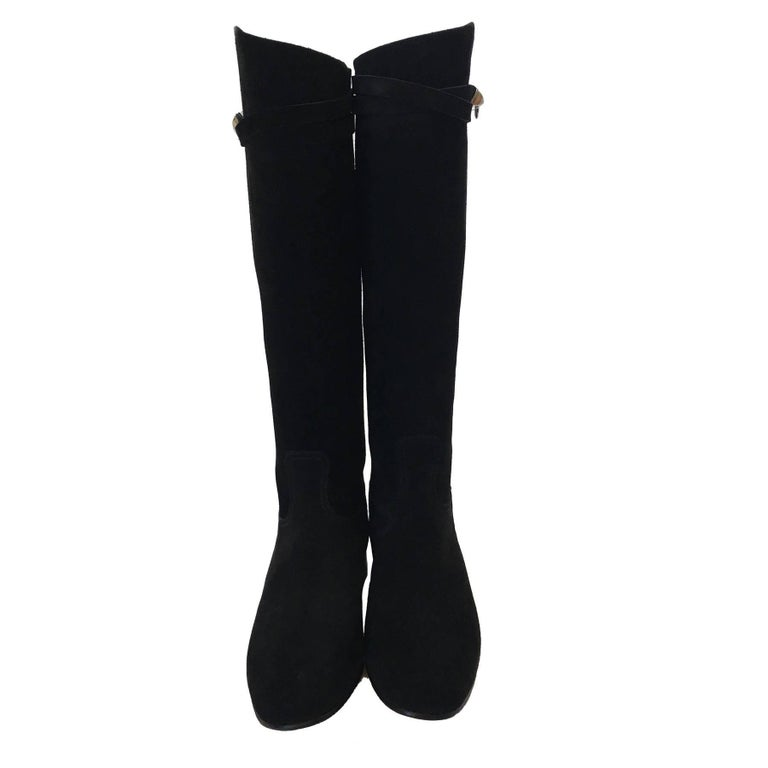 HERMES Riding Boots in Black Suede Size 36.5EU For Sale 1