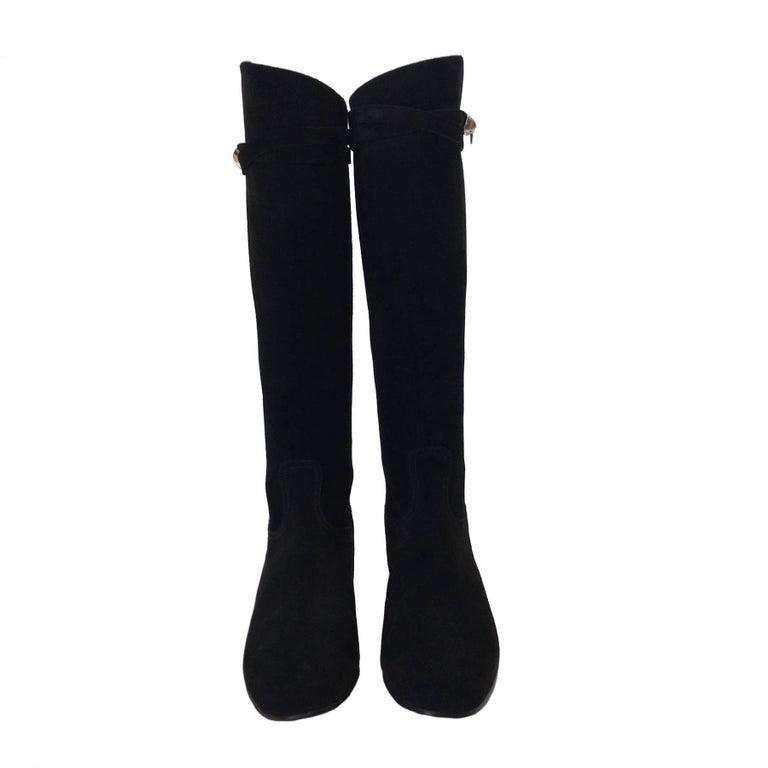 Women's HERMES Riding Boots in Black Suede Size 36.5EU For Sale