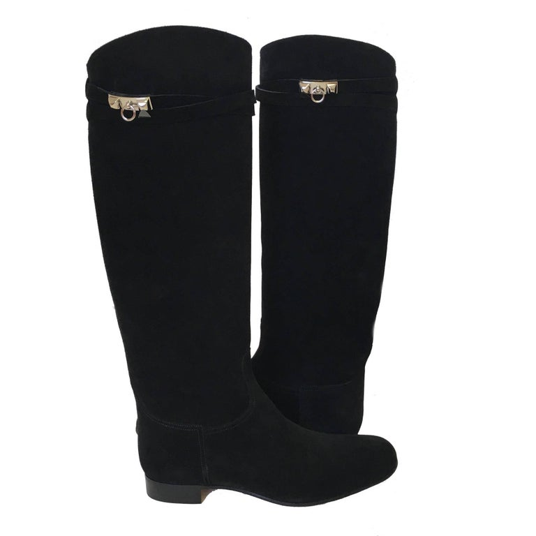 HERMES Riding Boots in Black Suede Size 36.5EU In New Never_worn Condition For Sale In Paris, FR