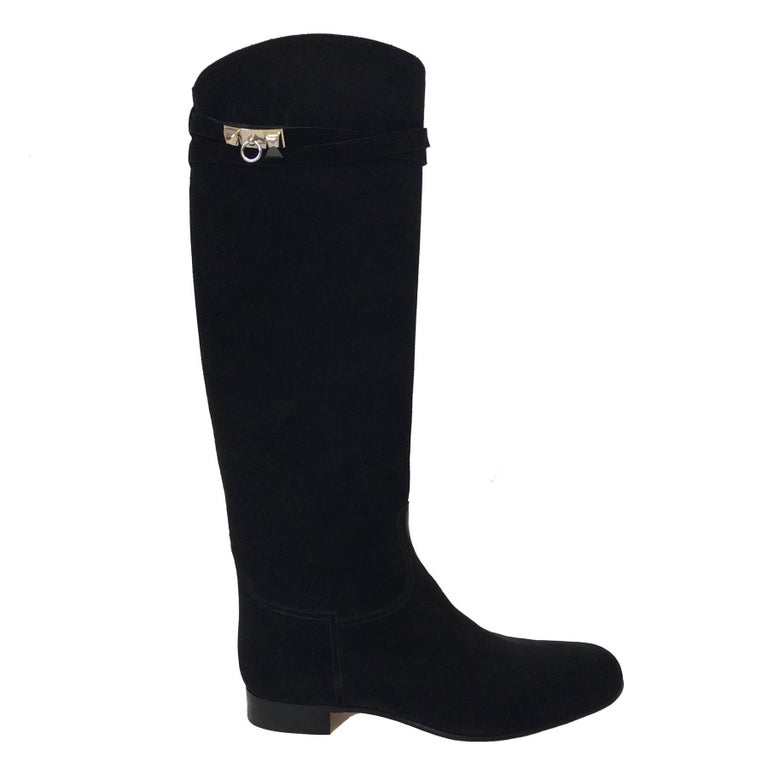 HERMES Riding Boots in Black Suede Size 36.5EU