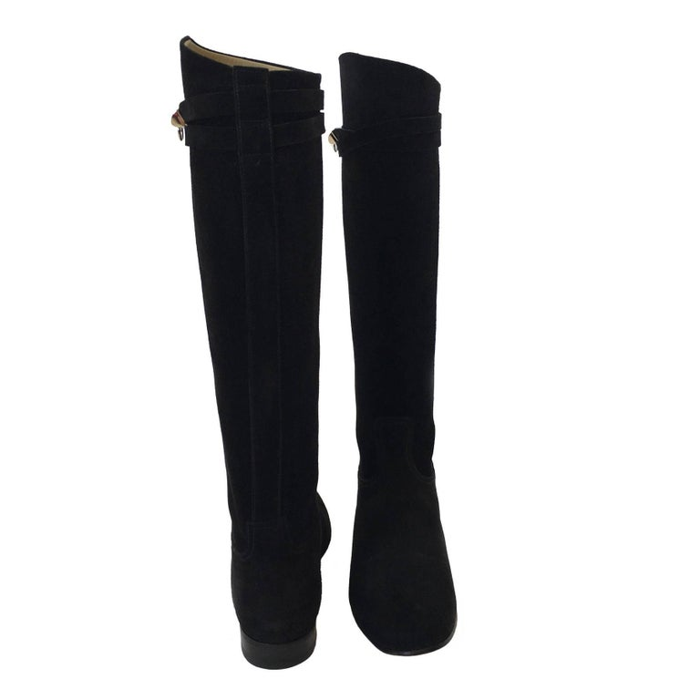 HERMES Riding Boots in Black Suede Size 36.5EU For Sale 2