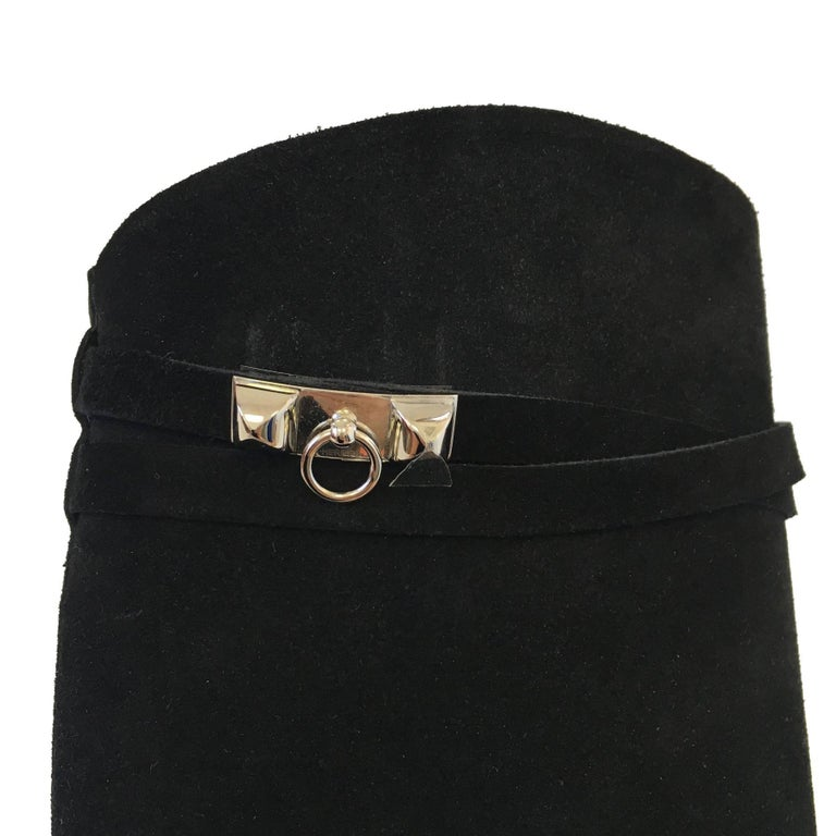 HERMES Riding Boots in Black Suede Size 36.5EU For Sale 5