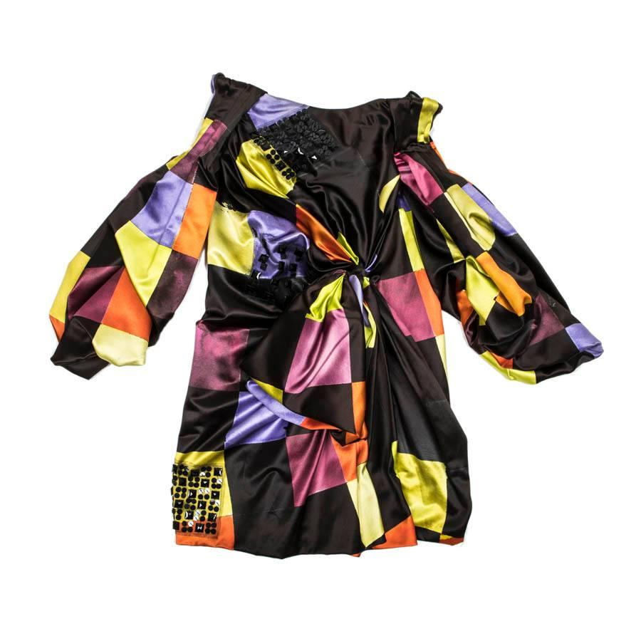 CHRISTIAN LACROIX Couture Dress with Multicolored Printed Patterns size 36EU
