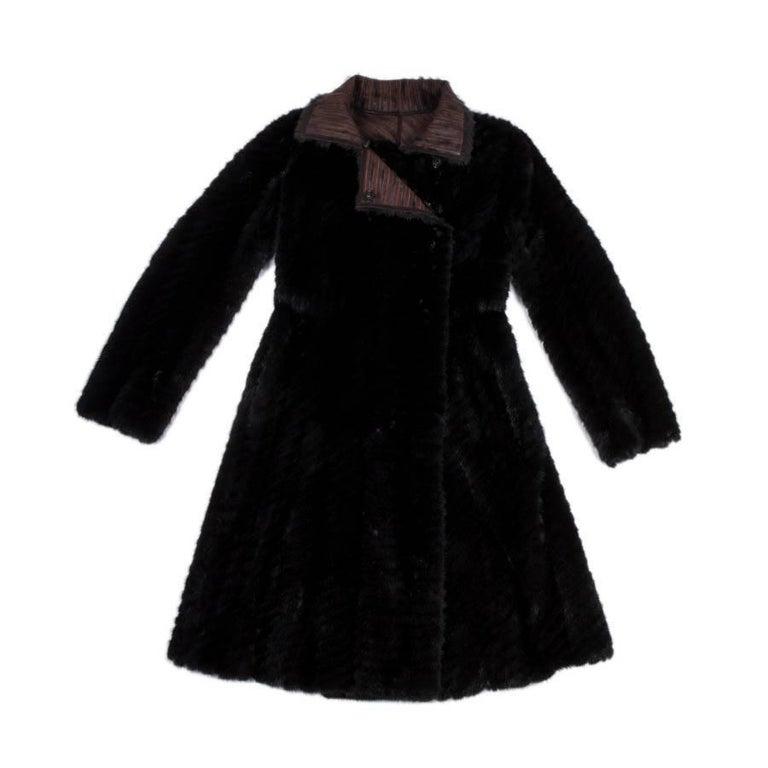 FENDI Crossover Coat in Brown Mink Fur Size 38EU