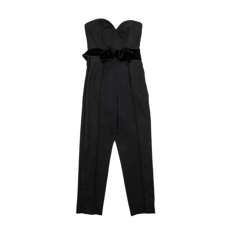 YVES SAINT LAURENT Bustier Jumpsuit in Black Wool Size 38EU