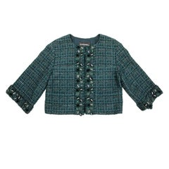 CHANEL Jacket in Green Tweed, Blue and Lame Lurex, Size 36EU