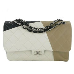 CHANEL Jumbo Double Flap Bag in Tricolor Quilted Lambskin Leather