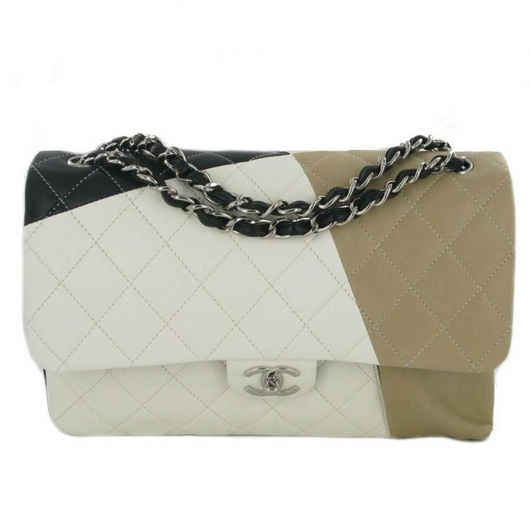 d3f0ec833d67 CHANEL Jumbo Double Flap Bag in Tricolor Quilted Lambskin Leather For Sale