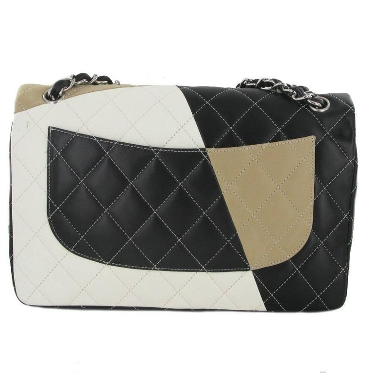 e2c29dc771053e Beige CHANEL Jumbo Double Flap Bag in Tricolor Quilted Lambskin Leather For  Sale