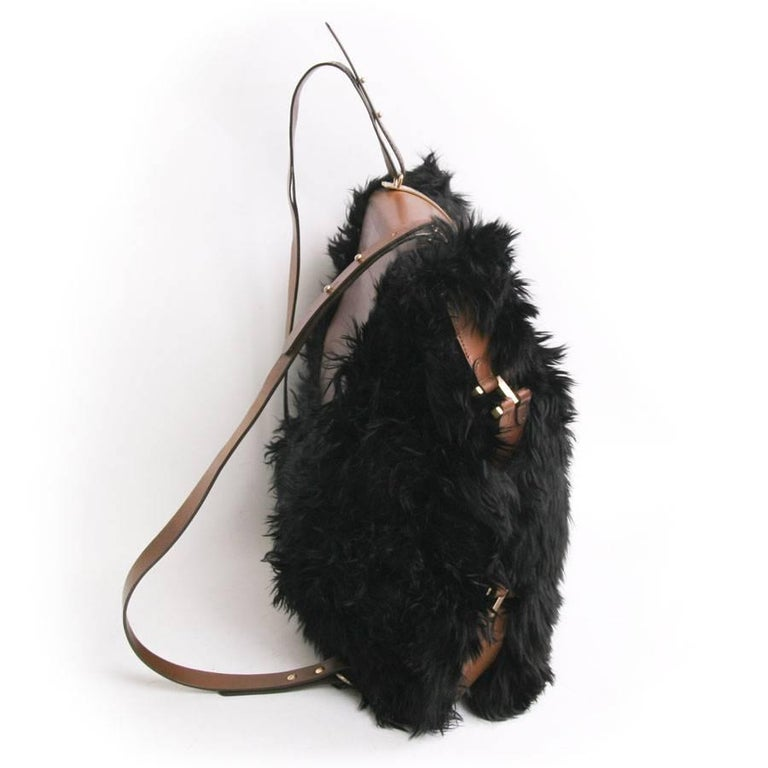 Women's or Men's MARNI Backpack in Black fur and Natural Leather For Sale