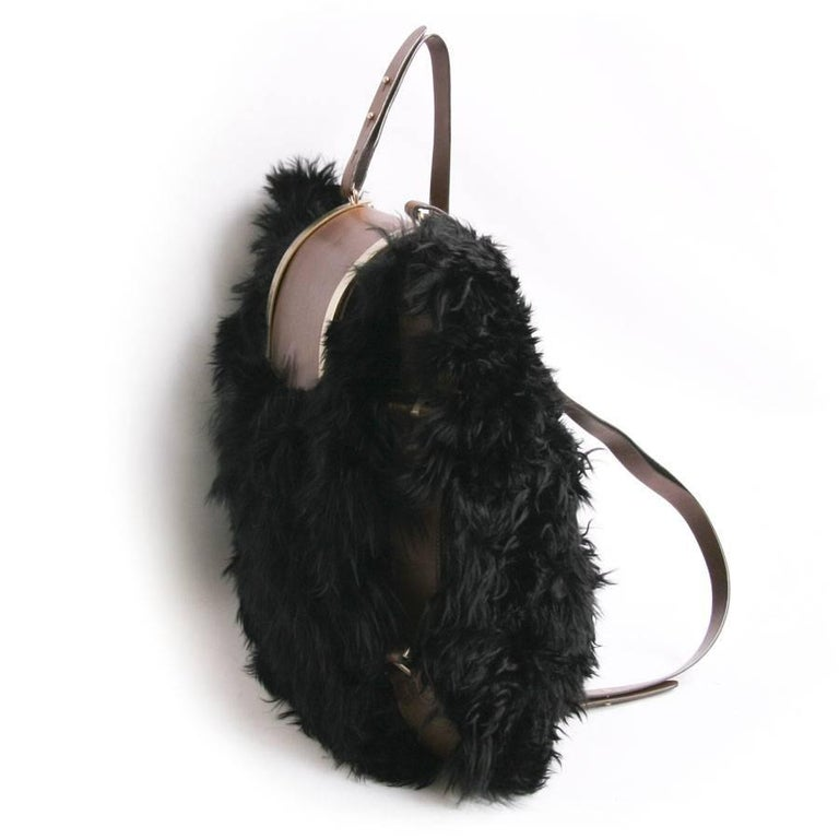 MARNI Backpack in Black fur and Natural Leather In Excellent Condition For Sale In Paris, FR