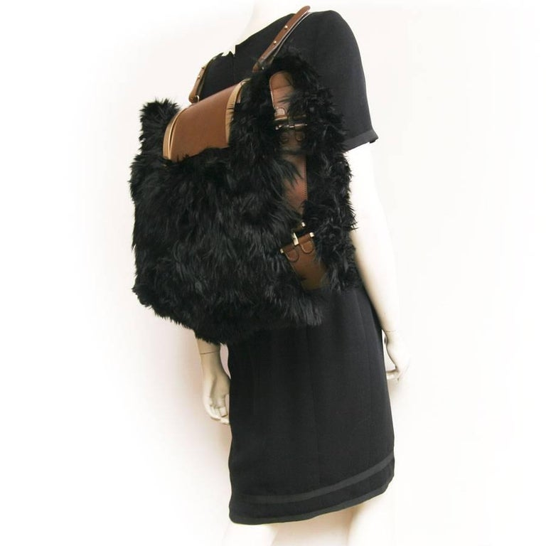 MARNI Backpack in Black fur and Natural Leather For Sale 3