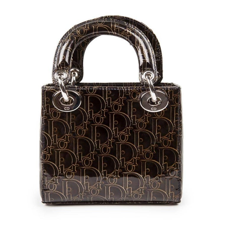 Black LADY DIOR Mini Handbag in Brown Patent Leather with DIOR Letters Printed For Sale