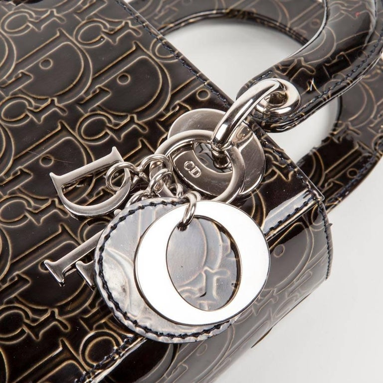 LADY DIOR Mini Handbag in Brown Patent Leather with DIOR Letters Printed For Sale 2