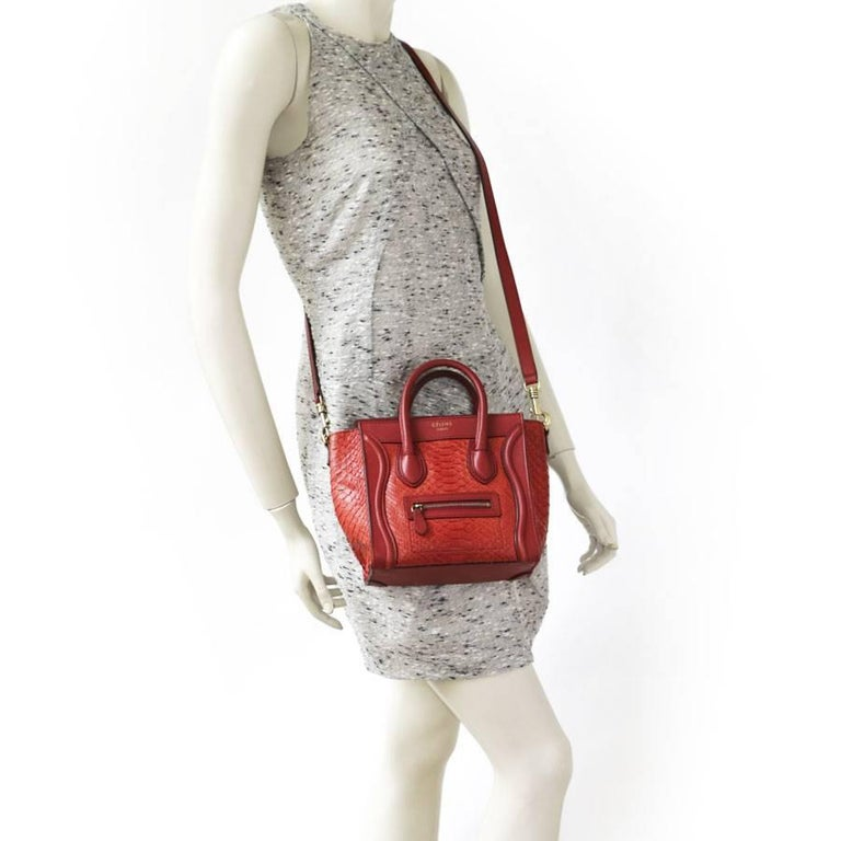 CELINE  Nano  Bag in Red Python and Leather. For Sale at 1stdibs 7981cc7dc1af9