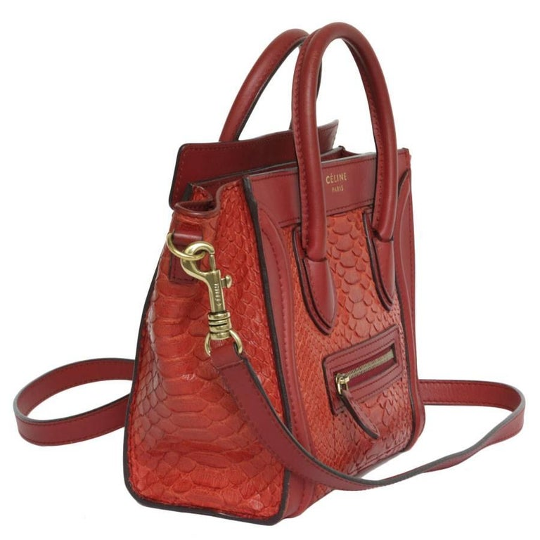Celine Nano Bag In Red Python And Leather Good Condition For