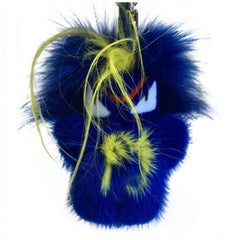 FENDI Bag Charm 'FENDIRUMI BUG-KUN' in Blue and Yellow Mink