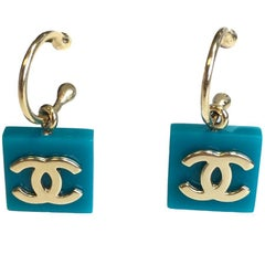 CHANEL Turquoise Square Stud Earrings
