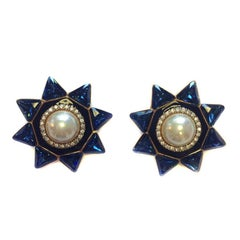 VALENTINO Blue Star Clip-on Earrings in Gilded Metal, Rhinestones and Pearl