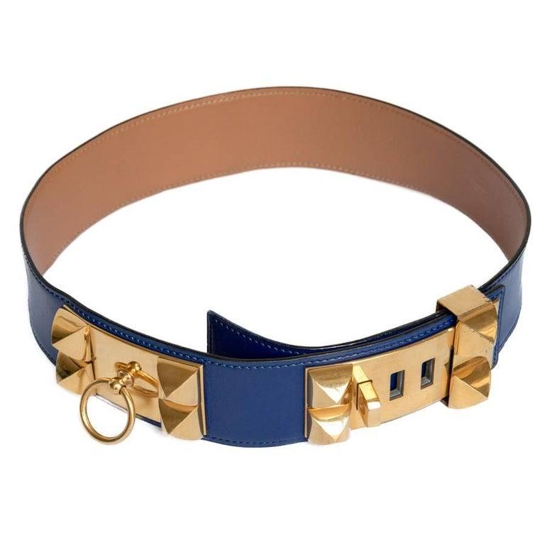 HERMES Medor Belt in Blue Ink Box Leather Size 70EU