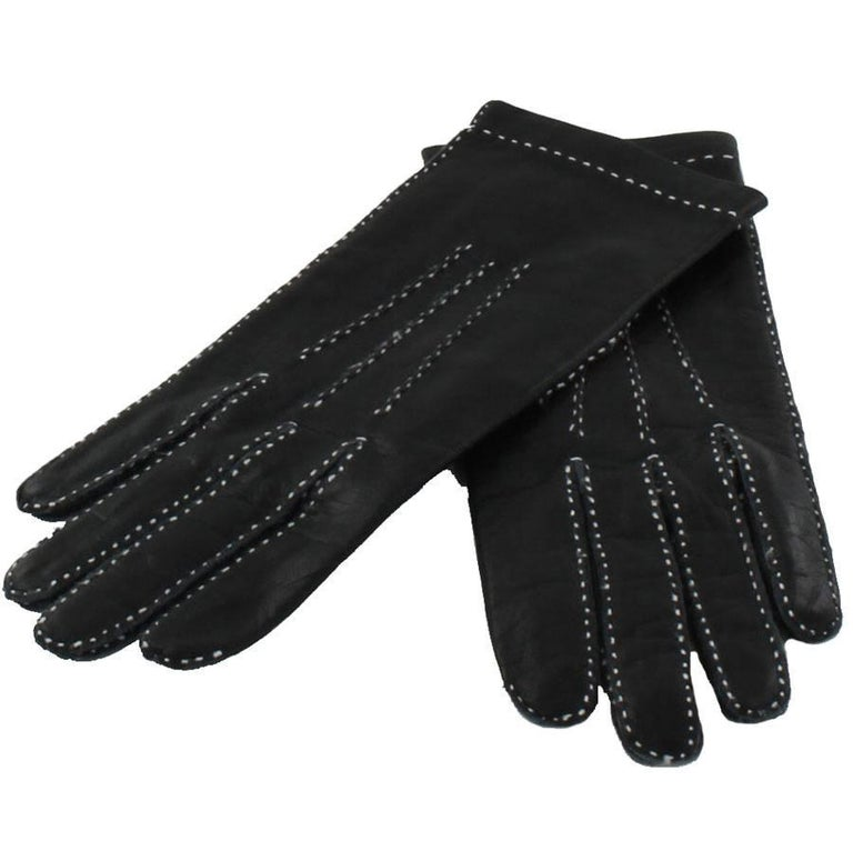 HERMES Gloves in Blak Smooth Leather whit White Saddle Stitching Size 6.5 EU