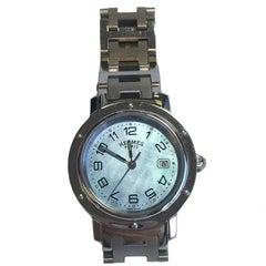 HERMES 'Clipper' Stainless Steel Quartz Wristband Watch Medium Size