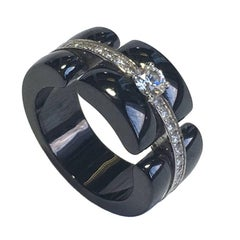 CHANEL 'Ultra' Model Ring i White Gold, black ceramic and diamonds Size 51 EU