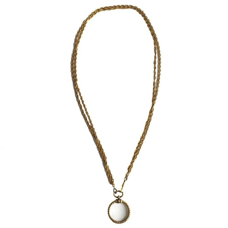 CHANEL Double Chain Necklace in Gilded Metal with a Magnifying Glass  For Sale 5