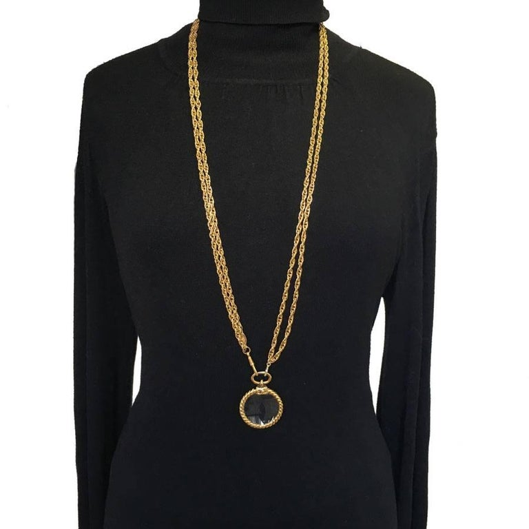 CHANEL Double Chain Necklace in Gilded Metal with a Magnifying Glass  For Sale 2