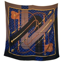HERMES Shawl 'Cilc Clac à Pois' in Black, Brown and Indigo Cashmere and Silk