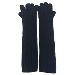 CHANEL Long Gloves in Black Cashmere Size 7.5 EU