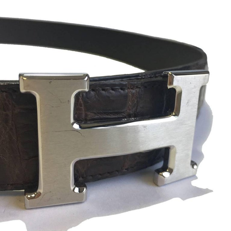 HERMES men Belt in Brown Crocodile Porosus Leather Size 95 EU For Sale 1