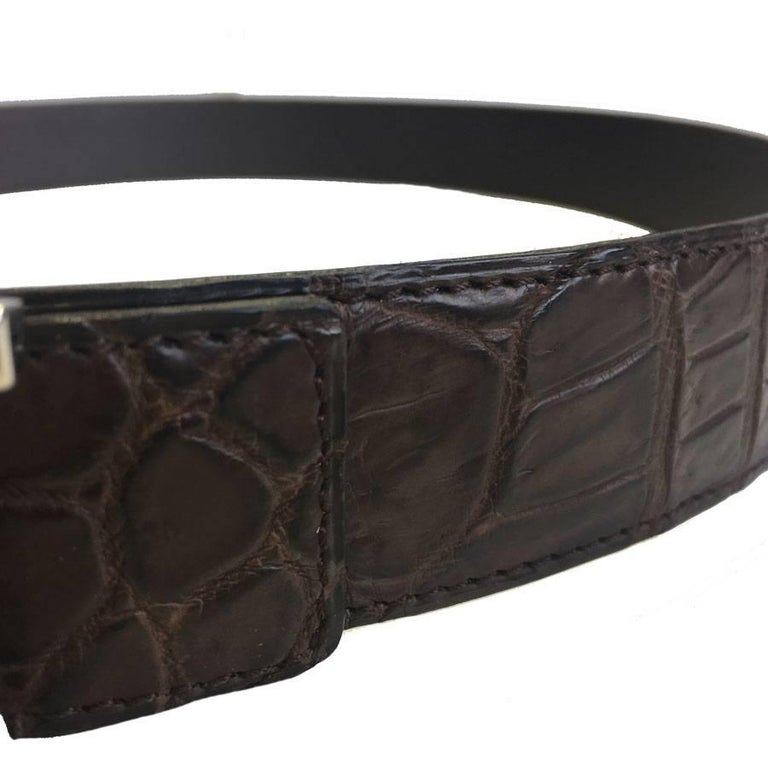 HERMES men Belt in Brown Crocodile Porosus Leather Size 95 EU For Sale 2