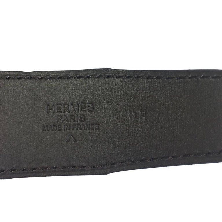 HERMES men Belt in Brown Crocodile Porosus Leather Size 95 EU In Good Condition For Sale In Paris, FR