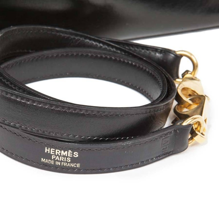 HERMES Vintage Kelly 32 Bag in Black Box Leather with its Strap For Sale 5