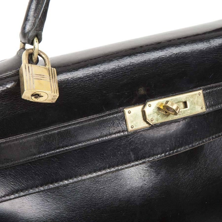 HERMES Vintage Kelly 32 Bag in Black Box Leather with its Strap For Sale 1