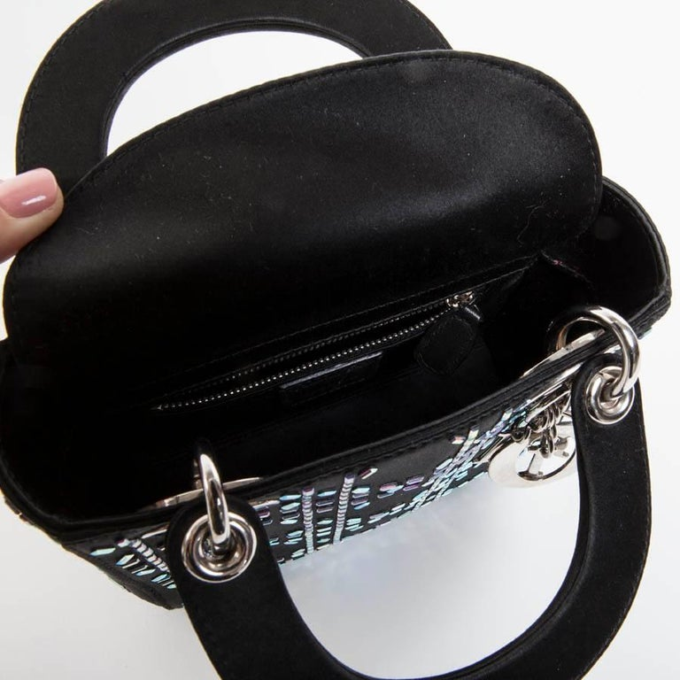 CHRISTIAN DIOR Mini Lady D Evening Bag in Black Silk Satin set with ... 931058603b8b0