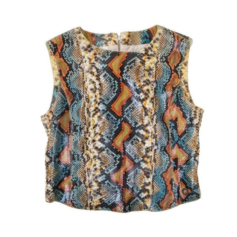 Chanel Sleeveless Top in Multicolored Python Size 40EU