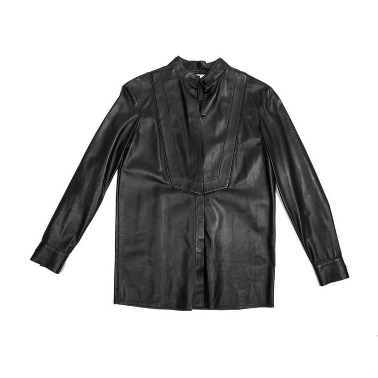 GIVENCHY Blouse in Black Lamb Leather Size 34FR
