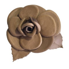 CHANEL Camellia Brooch in Glossy Brown Leather