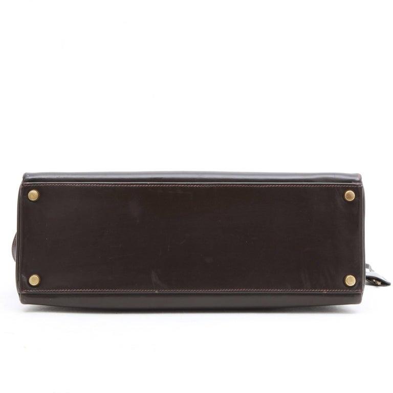 Black HERMES Kelly 32 Bag in Brown Box Leather