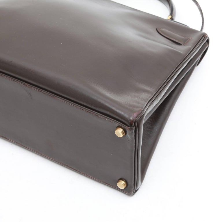 HERMES Kelly 32 Bag in Brown Box Leather 4