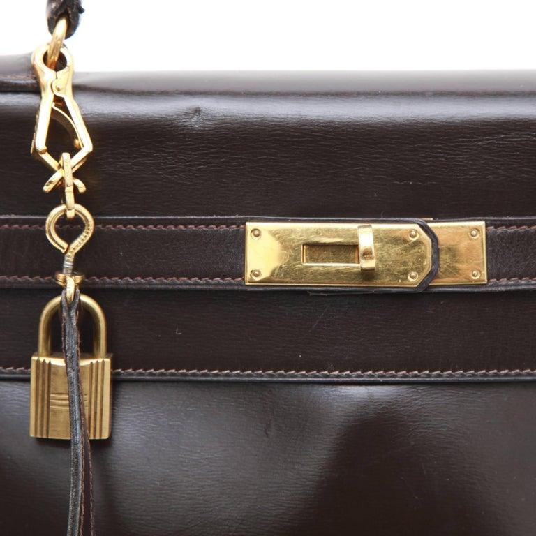 Women's HERMES Kelly 32 Bag in Brown Box Leather