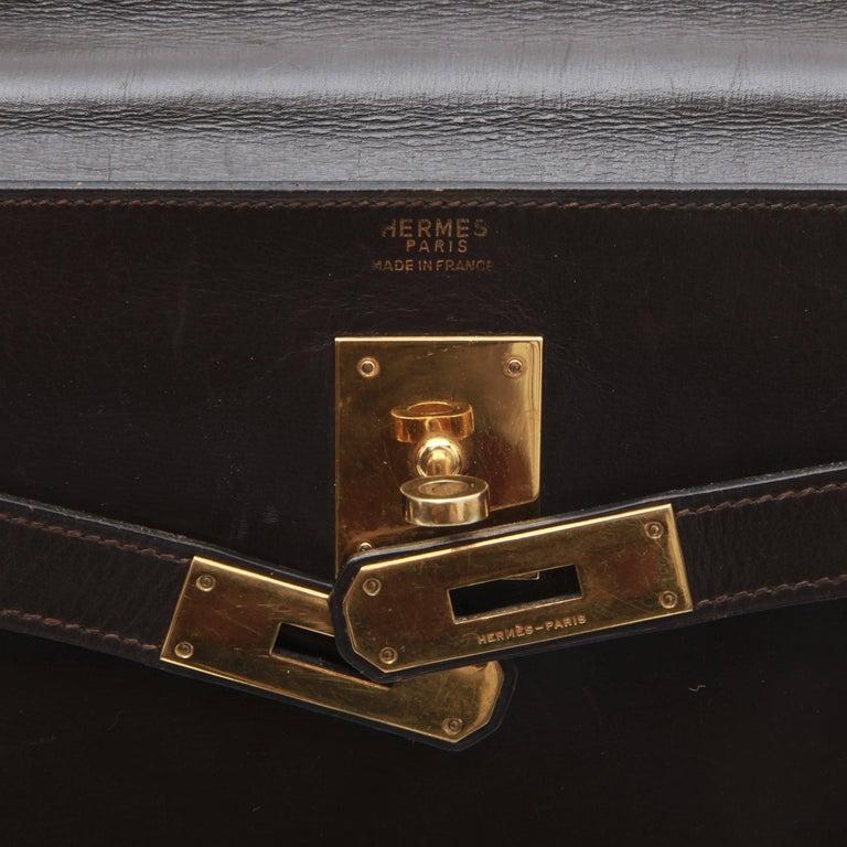 HERMES Kelly 32 Bag in Brown Box Leather 1
