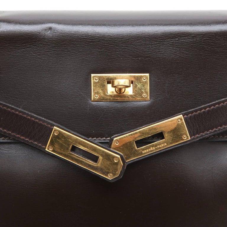 HERMES Kelly 32 Bag in Brown Box Leather 3