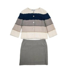 CHANEL Jacket and Skirt Set in Striped Wool Size 40 EU