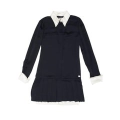 CHANEL Dress in Black Silk with White Collar Size 38EU
