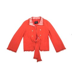 CHANEL Jacket 'Paris Los Angeles' in Coral Tweed and Neck in Sequin Size 40EU